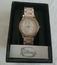 Disney Women's Watch Minnie Mouse Round Face Pink Silicone Band