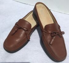 BASS Mules Clogs Women Shoes Size 8M Brown Tassel Loafers Boat Shoes Leather