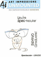 Graduation Spectacular Unmounted Rubber Stamps with Cushion Art Impressions NEW