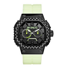 MARC ECKO UNLTD BLACK TONE,WHITE SILICON,THE TRACTOR,GLOW IN DARK WATCH E18505G1