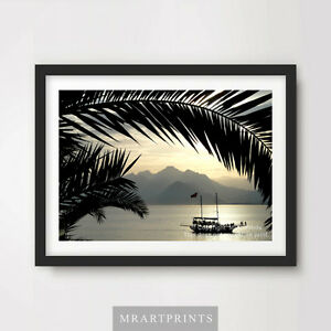 TROPICAL PALM SUNSET BOAT SEA OCEAN Art Print Poster Photo Picture Wall Decor