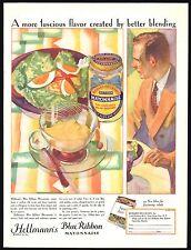 1928 Richard HELLMANN'S Blue Ribbon MAYONNAISE Vintage Food AD Kitchen Decor