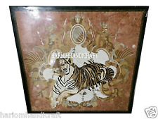 "36"" Black Marble Dining Square Table Top Mosaic Marquetry Tiger Inlay Arts H2713"
