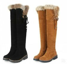Women's Over Knee High Boots Fur Trim Chunky Heel Pull On Snow Boots Winter Warm