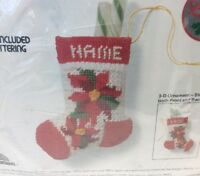 "Poinsettia Stocking Needlepoint Christmas Kit Cheryl Ruehle 5"" 5066 Jiffy Sunset"