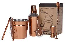 6pc Copper Stainless Steel Manhattan Cocktail Shaker Set Kit Drink Champagne