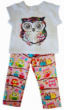 """Glitter Owl T-Shirt and Pink Owl Leggings for 18"""" American Girl Doll Clothes"""