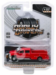 1:64 GreenLight *DUALLY DRIVERS 3* RED 2018 Chevy Silverado Service w/SNOWPLOW