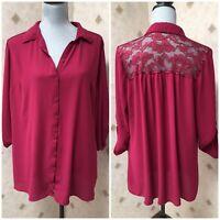 Woman's Plus Sz 2X Burgundy Buttoned Blouse Shirt Top Lace Back Maurices