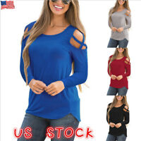Womens Cold Shoulder Pearls Long Sleeve Tops Blouse Ladies Casual T Shirt Tee