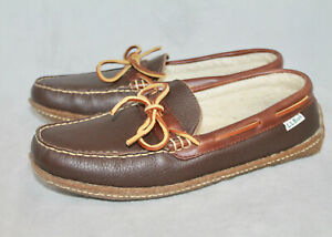 New LL BEAN Hand Sewn Shearling Lined Moccasin Slipper Size 7M Brown Leather