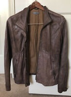 VINCE Womens Small Taupe Brown 100% Genuine Soft Leather Zip Pocket Jacket Sz S