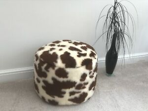Brown &  Cream Cow Faux Fur Pouffee / Footstool Made in the UK