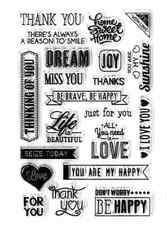 Forever in Time Clear Cling Rubber Stamp Sentiments Writing Words Set