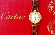 Cartier vermeil 30mm plata 925 elegante unisex de lujo reloj pulsera nos ungetragen