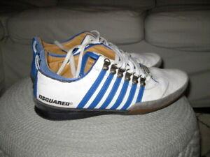 DSQUARED2 Herren Sneaker Schnür/Halbschuhe weiss mit blauen Streifen LEDER Gr.43