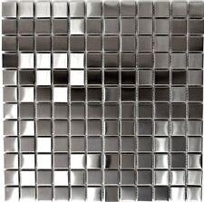 Mosaik silber silver Edelstahl gebürstet matt Fliesenspiegel 129-23D 10 Matten