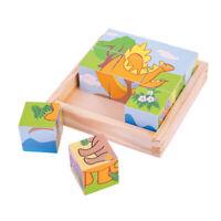 Bigjigs Toys Wooden Dinosaur Cube Chunky Jigsaw Puzzle Educational