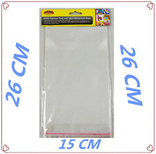 40 PACK PEAL & SEAL TRANSPARENT CLEAR CELLOPHANE BAGS - 26 X 15 CM- PARTY BAG