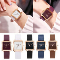Women Ladies Fashion Leather Band Watches Analog Quartz Square Wrist Watch NEW