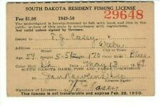 Vintage Resident South Dakota Fishing License 1949-50 ~Owner was train conductor