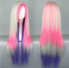 Multi-Color Pink Purple Long Straight Women Lady Cosplay Anime Hair Wig Wigs+Cap