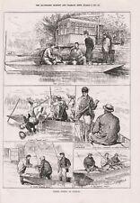 OLD ANTIQUE 1879 ENGRAVING PRINT BARBEL FISHING AT SUNBURY b117