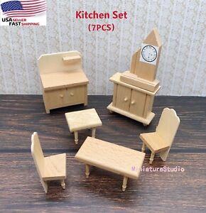 7PCS Dollhouse Miniature 1/24 Kitchen Unpainted Wooden Furniture Set Toy Dec