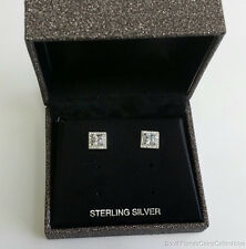 ESTATE JEWELRY LADIES SQUARE CUBIC ZIRCONIA STUD EARRINGS STERLING SILVER