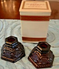 Vintage Avon Cape Cod Ruby Red Glass Small Short Candlestick Holders Pair Set 2