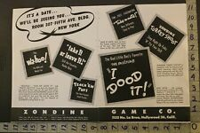 1946 Game Wa-Hoo Radio Puzzle Card Turkey Dood Zondine Hollywood 2pg Toy Ad Tn46