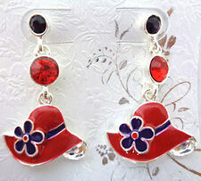 1 PAIR OF PIERCED EARRINGS RED HAT SHAPED W/ CRYSTALS RED HAT LADIES OF SOCIETY