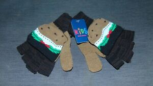 Novelty Christmas Pudding Gloves Knitted Flip-Top ONE SIZE Brown Mix BNWT