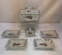 Vtg 6pc 50's Japan LIPPER & MANN Rose Cigarette Holder Box 4 Ashtrays Lighter