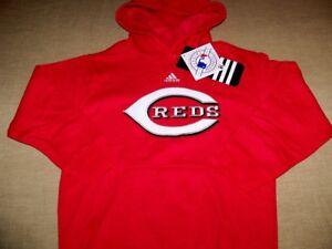 CINCINNATI REDS ADIDAS PULLOVER HOODED SWEATSHIRT KIDS SIZE MEDIUM (5-6) RED NWT
