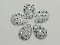200 Silver Flatback Acrylic Glitter Teardrop Rhinestone Cabochon 9X13mm