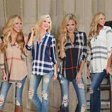 Women's Printed V Neck Loose Long Sleeve Casual Shirt Tops New Fashion Blouse