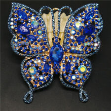 Betsey Johnson Shine Blue Bling Butterfly Crystal Charm Brooch Pin Gifts