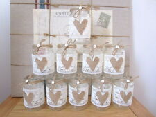 10 Vintage Glass Jars Vases Centre Pieces Shabby Chic Wedding Lace