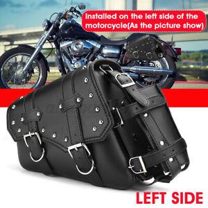 Left Motorcycle Saddlebag Tool Side Bag Storage W/ Holder Chopper Cafe Racer AU
