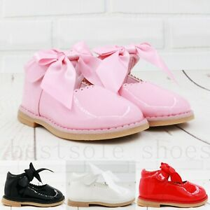 KIDS BABY INFANTS GIRLS RIBBON BOW SPANISH WEDDING PARTY PATENT TODDLER SHOES SZ