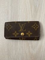 Louis Vuitton 4 Key Holder Leather Vintage Logo Monogram Brown 1 Wallet Case