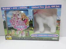 Barbie & Her Sisters A Pony Tale Gift Set with Plush Pony (Blu-Ray+DVD) NEW