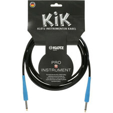"Klotz Kik 10ft 3m Guitar Cable Cord Black/Blue 1/4"" Straight Made in Germany New"