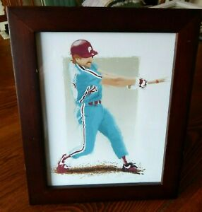 10 by 12 Framed Baseball Art Print with Walnut Frame GUC