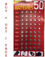 50 ASSORTED BUTTON CELL WATCH BATTERY AG 1 / 3 / 4 / 10 / 12 / 13