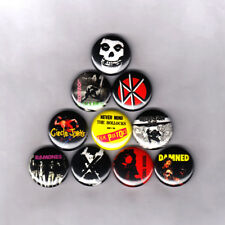 """PUNK ROCK 1"""" PINS / BUTTONS w/ THE CLASH SEX PISTOLS MISFITS DAMNED MINOR THREAT"""