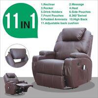 Massage Recliner Sofa Chair Ergonomic Lounge Swivel Heated W/Control New Brown