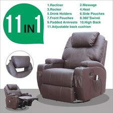 Massage Recliner Sofa Chair Ergonomic Lounge Swivel Heated Control New Brown
