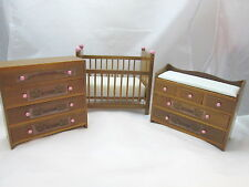 Dollhouse Miniature Baby's Room Crib, Chest of Drawers & Changing Table Walnut